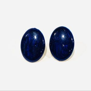 Vintage Iridescent Blue Oval Clip-On Earrings
